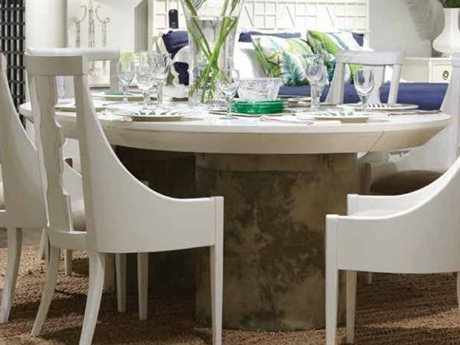 Stanley Furniture Finca White 54'' Round La Rampa Dining Table