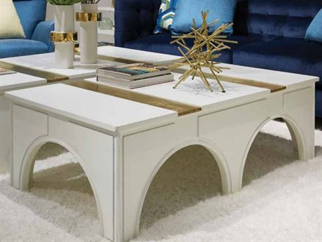 Stanley Furniture Havana Crossing Finca White 55''L x 30''W Rectangular Portico Cocktail Table