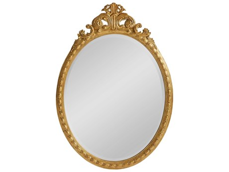 Stanley Furniture Havana Crossing Oro Oscuro Gold Leaf 42''W x 50''H Oval Museum Wall Mirror