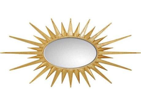 Virage Antique Gold Leaf 61 5 W X 31 H Sunburst Accent Wall Mirror