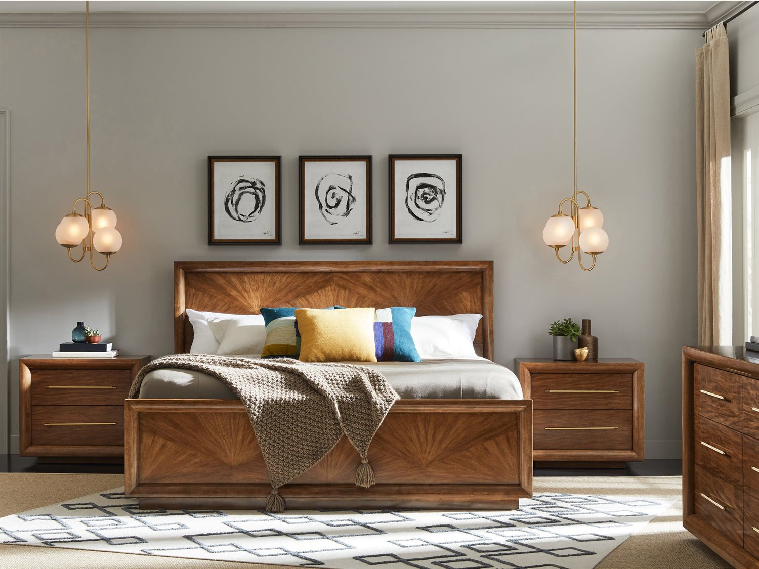 Stanley Furniture Panavista Goldenrod Panel Bed Bedroom