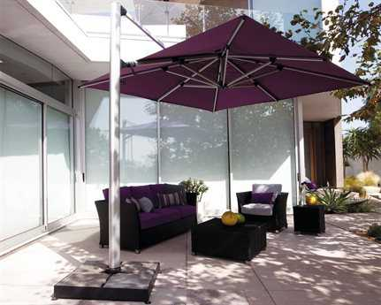 Shademaker Polaris Aluminum 13'1 Crank Lift Offset Square Umbrella PatioLiving