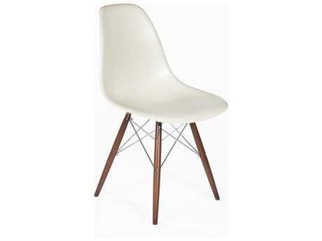 Stilnovo Mid-Century Eiffel Almond & Walnut with Chrome Rods Legs Dining Side Chair