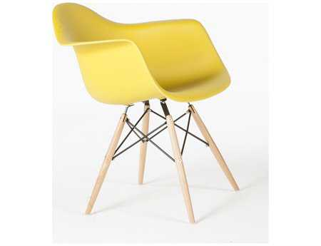 Stilnovo Mid Century Eiffel Yellow Accent Chair with Wooden Dowel Legs