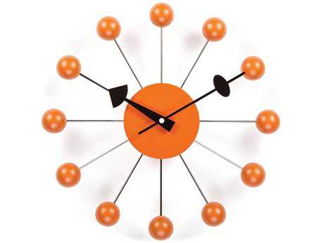 Stilnovo George Nelson By Verichron Ball Orange Wall Clock