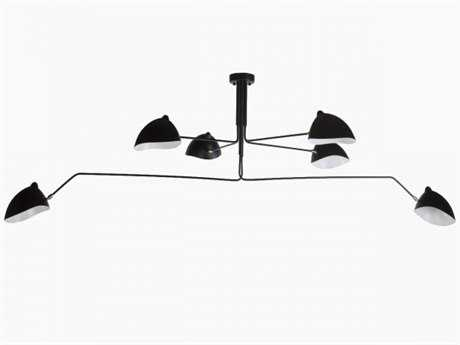Stilnovo Daan Black Six-Light 30''-53'' Wide Chandelier