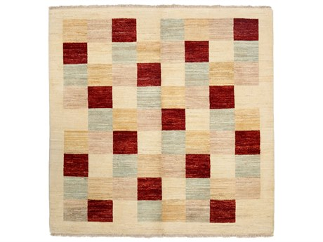Solo Rugs Gabbeh Ivory 5'1'' x 5'1'' Square Area Rug