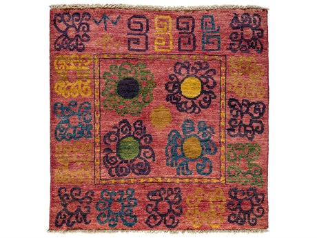 Solo Rugs Kaitag Pink 5'3'' x 5'6'' Square Area Rug