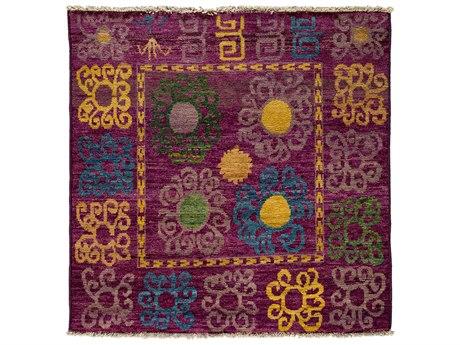 Solo Rugs Kaitag Purple 5' x 5' Square Area Rug