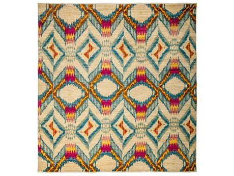 Solo Rugs Ikat Ivory 8' x 8'4'' Square Area Rug