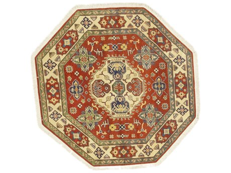 Solo Rugs Kazak Red 5'1'' x 5'1'' Octagon Area Rug