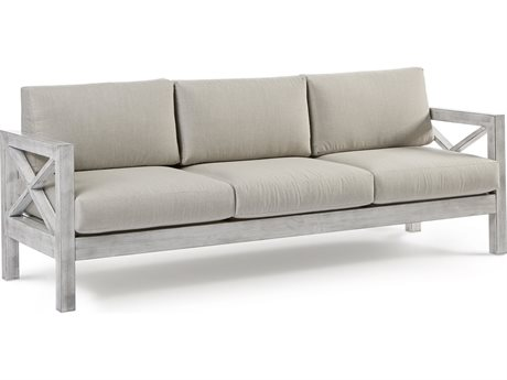 South Sea Rattan Farlowe Aluminum Brushed White Sofa