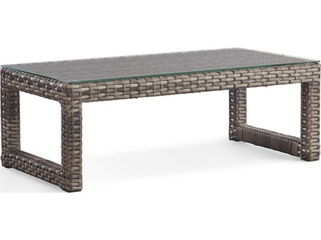 South Sea Rattan New Java Sanstone 48'' Wide Wicker Rectangular Coffee Table