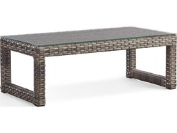 New Java Sanstone 48'' Wide Wicker Rectangular Coffee Table