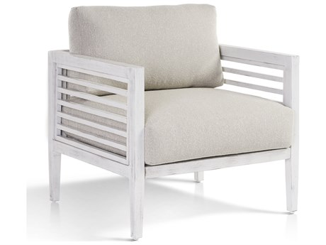 South Sea Rattan Veda Aluminum Soft White Lounge Chair