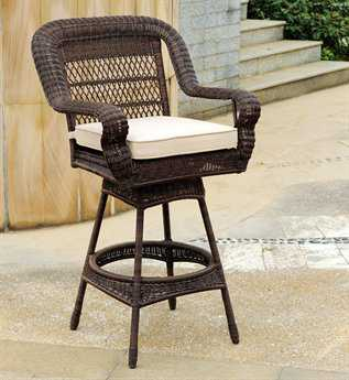 South Sea Rattan Montego Bay Wicker Cushion Arm Swivel Counter Stool