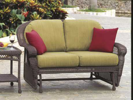 South Sea Rattan Montego Bay Wicker Cushion Arm Glider Loveseat