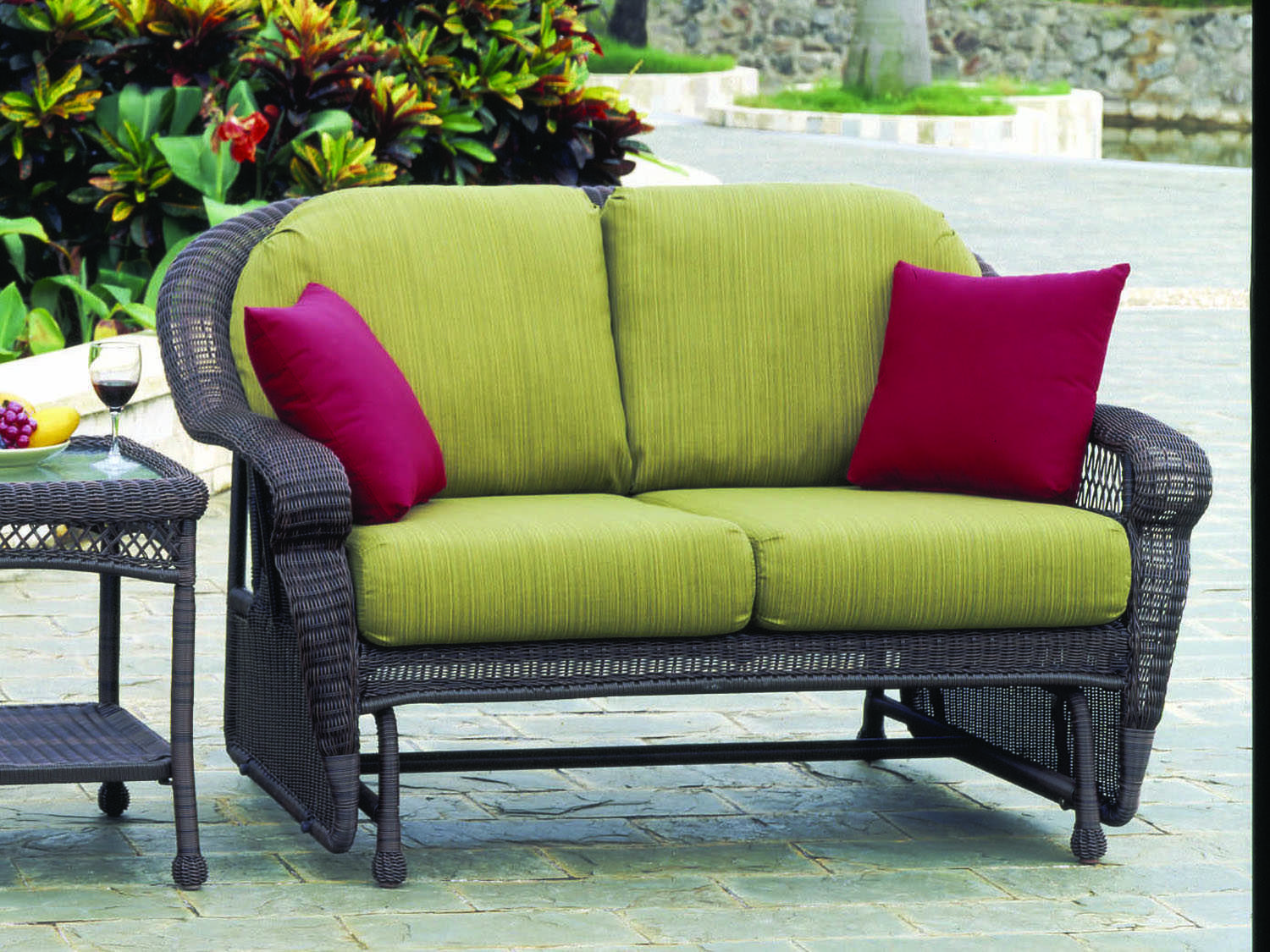 South Sea Rattan Montego Bay Wicker Cushion Arm Glider Loveseat 75132