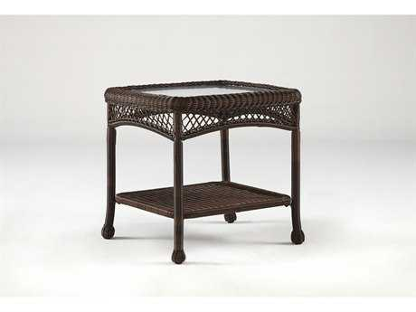 South Sea Rattan Montego Bay Wicker 24''L x 22''W Rectangular Glass End Table PatioLiving