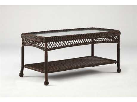 South Sea Rattan Montego Bay Wicker 44''L x 24''W Rectangular Glass Coffee Table