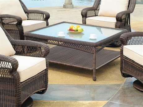 South Sea Rattan Montego Bay Wicker 48 Square Glass Chat Table