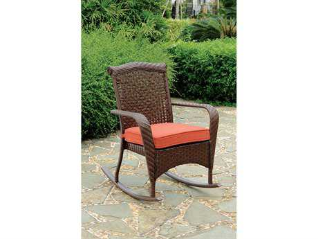 South Sea Rattan Martinique Wicker Cushion Arm Rocker Lounge Chair