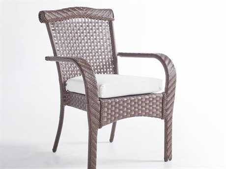 South Sea Rattan Martinique Wicker Cushion Arm Dining Chair