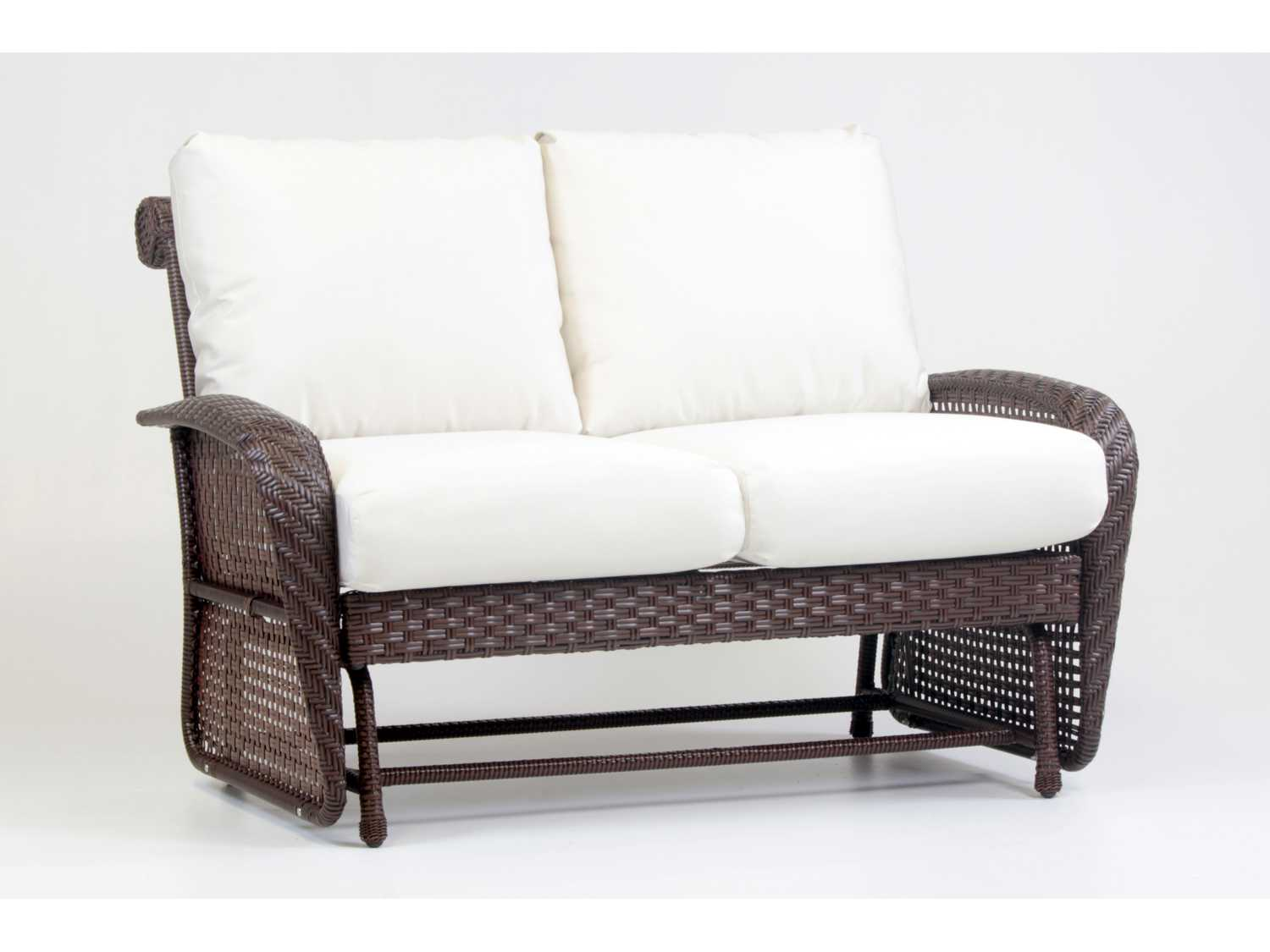 South Sea Rattan Martinique Wicker Cushion Arm Glider Loveseat 75232