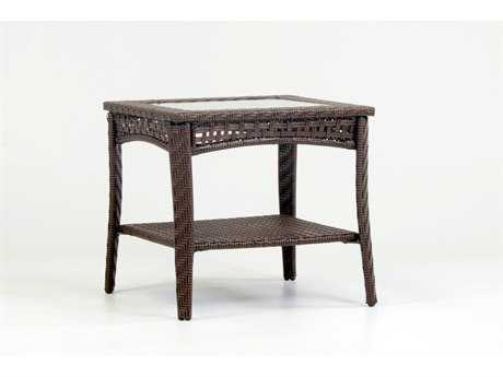 South Sea Rattan Martinique Wicker 24''L x 22''W Rectangular Glass End Table PatioLiving