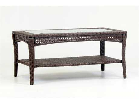 South Sea Rattan Martinique Wicker 44''L x 24''W Rectangular Glass Coffee Table PatioLiving