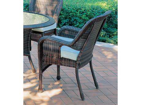 South Sea Rattan Key West Wicker Cushion Arm Dining Chair
