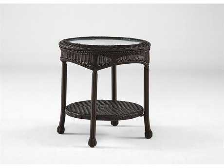 South Sea Rattan Key West Wicker 22'' Round Glass End Table