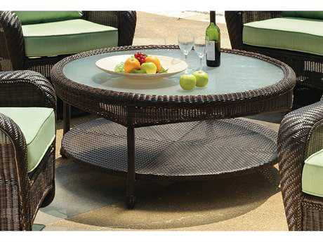 South Sea Rattan Key West Wicker 48'' Round Glass Chat Table