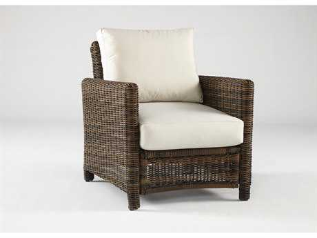 South Sea Rattan Del Ray Wicker Cushion Arm Lounge Chair