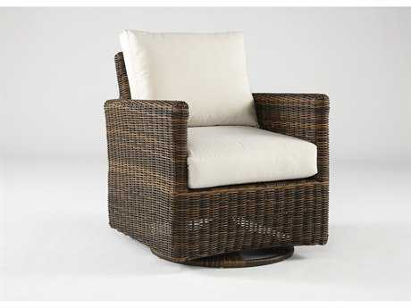 South Sea Rattan Del Ray Wicker Cushion Arm Glider Lounge Chair