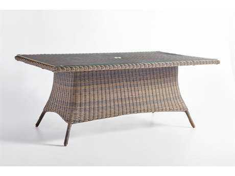 South Sea Rattan Del Ray Wicker 72''L x 42''W Rectangular Glass Dining Table