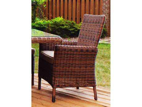 South Sea Rattan Del Ray Wicker Cushion Arm Dining Chair