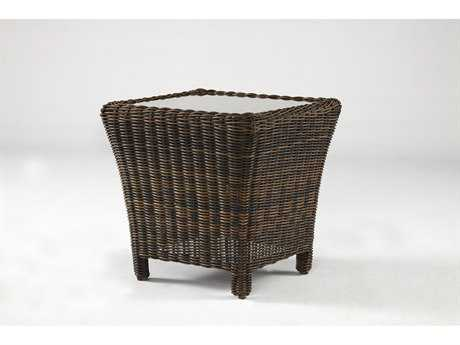 South Sea Rattan Del Ray Wicker 24'' Wide Square Glass End Table