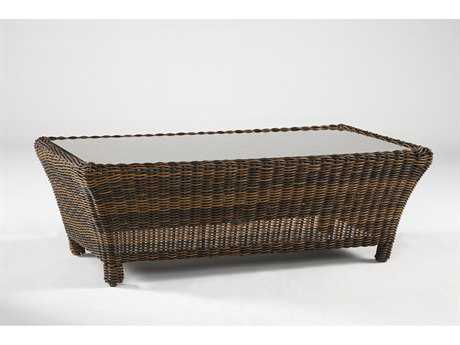 South Sea Rattan Del Ray Wicker 48''L x 23''W Rectangular Glass Coffee Table