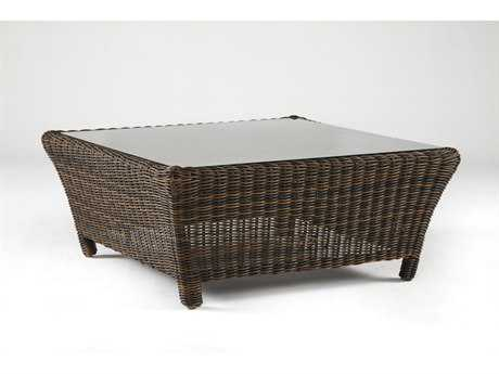 South Sea Rattan Del Ray Wicker Sectional 41'' Wide Square Glass Coffee Table