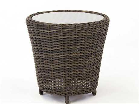 South Sea Rattan Barrington Wicker 24.5''L x 20.5''W Rectangular End Table Glass TopGlass Patio End Table