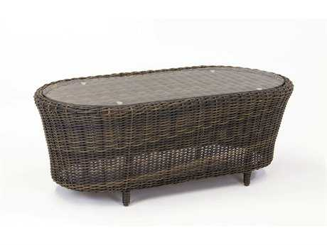 South Sea Rattan Barrington Wicker 42''L x 24''W Rectangular Coffee Table Glass Top