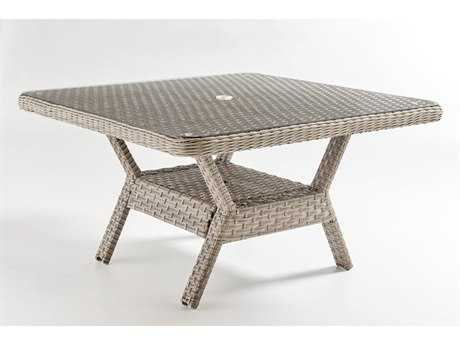 South Sea Rattan Mayfair Wicker 48'' Wide Square Dining Chat Table Glass Top