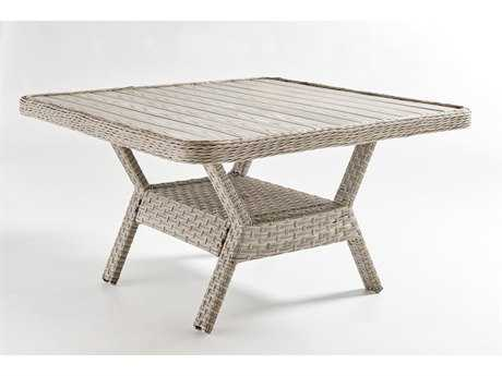 South Sea Rattan Mayfair Wicker 48'' Wide Square Dining Chat Table Poly Top