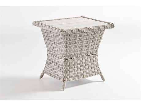 South Sea Rattan Mayfair Wicker 24.5''L x 20.5''W Rectangular End Table Poly Top