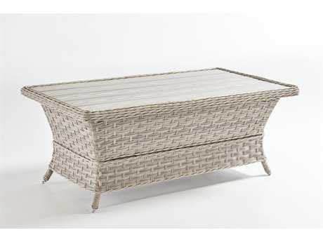 South Sea Rattan Mayfair Wicker Pebble 42''W x 24''D Rectangular Poly Top Coffee Table PatioLiving