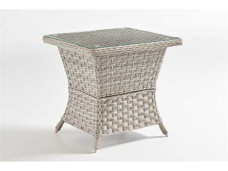 South Sea Rattan Mayfair Wicker 24.5''L x 20.5''W Rectangular End Table Glass Top PatioLiving