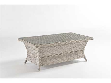 South Sea Rattan Patio Done Quick Mayfair Wicker 42''L x 24''W Rectangular Coffee Table Glass Top