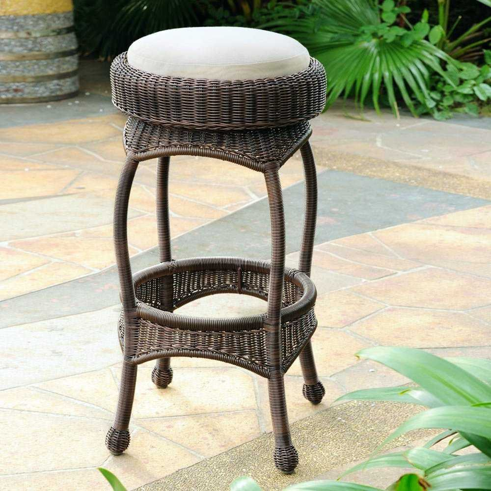 South Sea Rattan Bar Wicker Cushion Backless Counter Stool