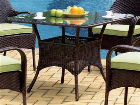 South Sea Rattan Bahia Wicker 38'' Wide Square Glass Bistro Table